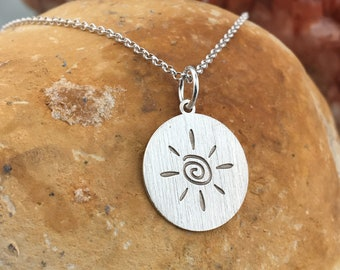 Sun necklace, brushed necklace, custom silver necklace, dainty jewelry, sun pendant, delicate necklace, everyday necklace