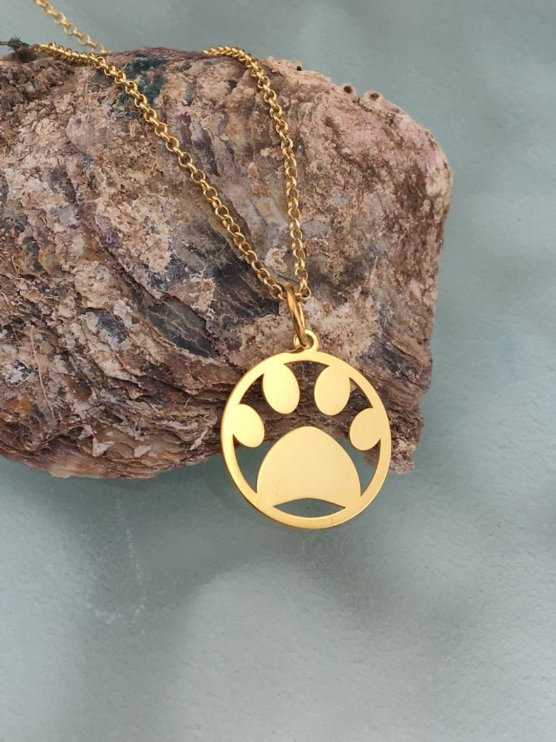Dainty Gold Coin Paw Print Necklace Personalized Gold Disc Pet Necklace 14k Solid Gold Puppy Love Dog Paw Print Necklace Gift For Dog Mom