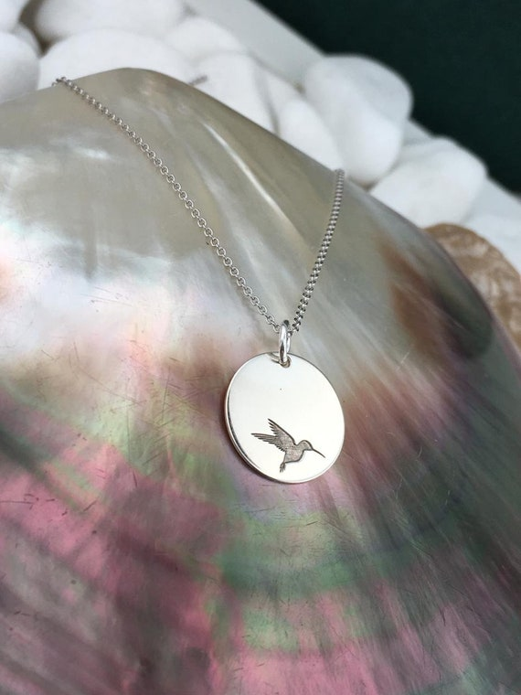 Hummingbird necklace Personalized Hummingbird Gold Necklaces 14k White Gold Charm Gift For her Hummingbird Jewelry solid Gold gift