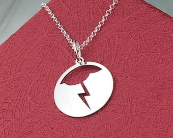 Lightning necklace, sterling silver, cloud necklace, bolt pendant, dainty necklace, delicate necklace, lightning pendant