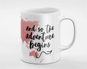 World map mug etsy quick view the adventure begins rose gold world map ceramic coffee tea mug gumiabroncs Image collections