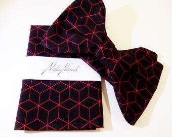 Geometric Handmade self tie bow tie and pocket square set.