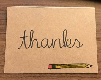 Hand-drawn Thank You Card (Blank Inside, Set of 12 with Envelopes)