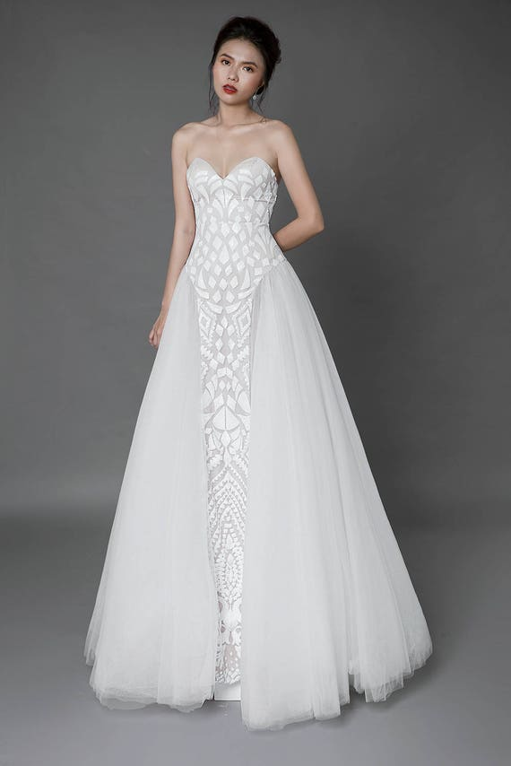 Bohemian lace wedding dress Custom Made Wedding Dress Boho   Etsy