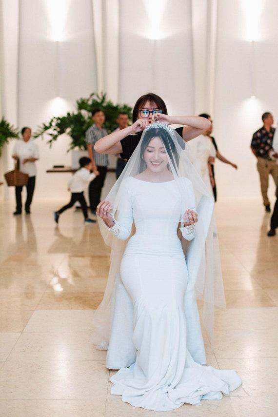 Crepe wedding dress, Long sleeve wedding dress, Crepe bridal dress, Bridal Lace gown, bridal gown, wedding gown, Dress Code BH110
