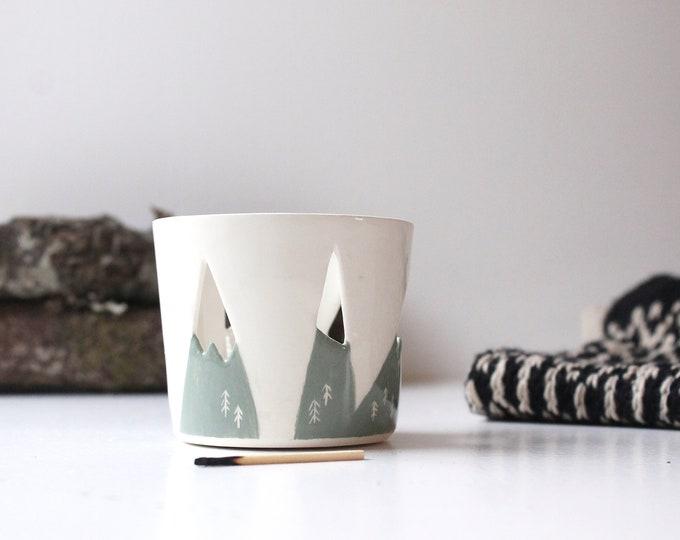 Featured listing image: Ceramic Mountain Tealight Holder, Candle Holder, Handmade Candle Holder, Tea Light Pot