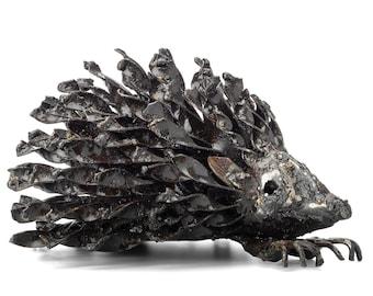 Metal Hedgehog Garden Ornament Sculpture Art - Handmade Recycled Materials