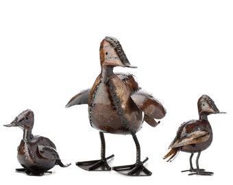 Metal Duck Garden Ornament Sculpture Art - Handmade Recycled Metal Bird