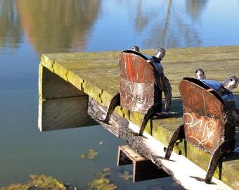 Metal Frog Garden Ornament Pond Sculpture Art - Handmade Recycled Metal Reptile