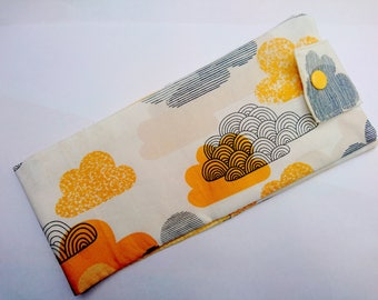 Long draping with ochre and grey clouds checkbook cover
