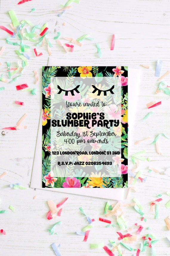 Tropische Dschungel Einladung Slumber Party Pool Party Etsy