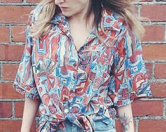 90s Vintage Oversized Abstract Print Blouse / Large Size Hipster Top / 90s Short Sleeve Shirt / Mens Womens Button Up Shirt
