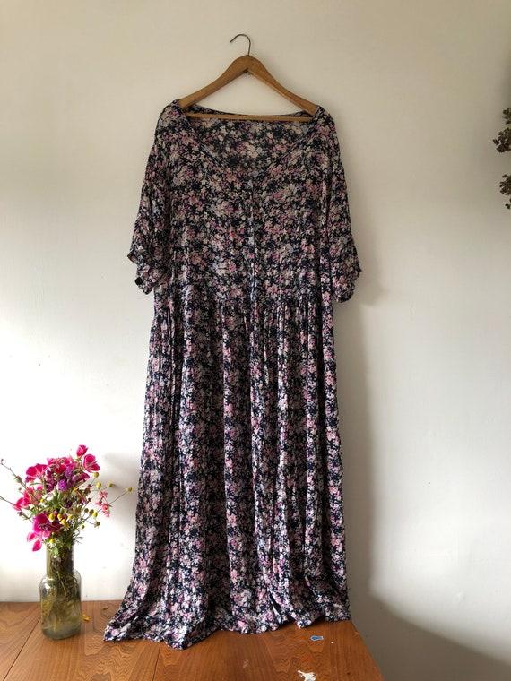 90s Black Floral Maxi Dress