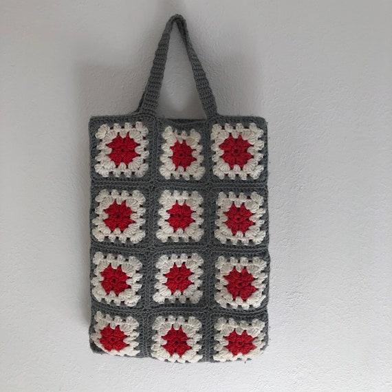 Red & Grey Granny Square Tote Bag