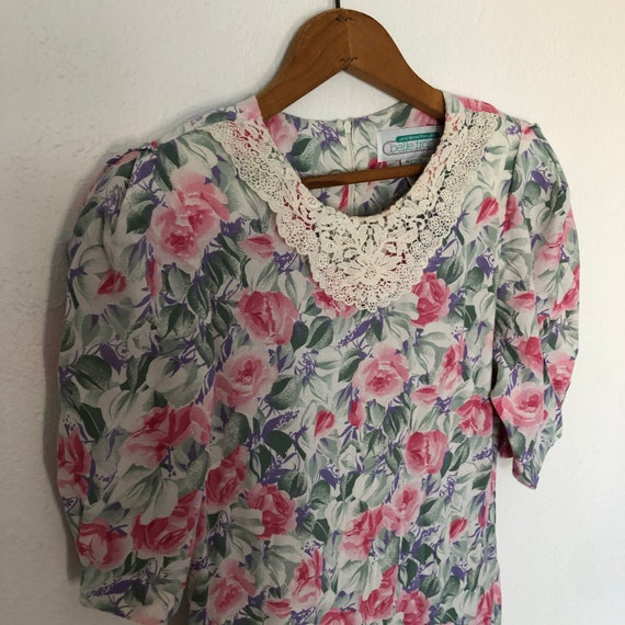 Floral Cotton Drop Waist Collared Dress