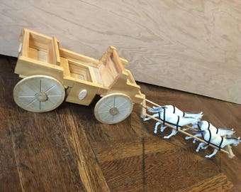 horse wood carriage model