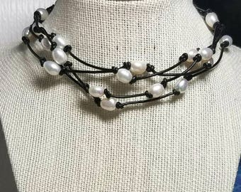 """Fine Pearl Necklace on Black Leather with """"A Grade"""" Pearls - Holidays, Vacations, Event Necklace! Free Shipping! 56-1/2 Inches!"""