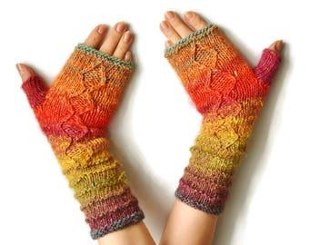Fingerless mittens womens, Knit Fingerless gloves, Knitted Fingerless Mittens, Fingerless mittens, Long Arm Warmers, Women Fingerless,