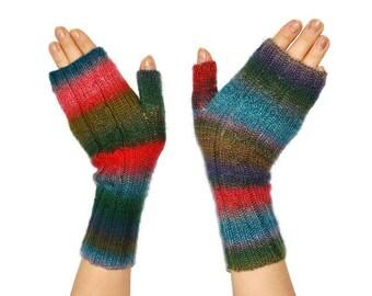 Knit Fingerless gloves, Fingerless mittens womens, Knitted Fingerless Mittens, Fingerless mittens, Long Arm Warmers, Women Fingerless