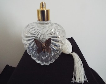 Nice Beautiful Cut Glass & Sterling Silver Top Antique English Perfume Bottle Decorative Arts