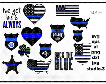 Police thin blue line BUNDLE, SVG, studio.3, dxf, jpg, png, ai, eps, Police SVG, Silhouette Files, Cricut Files