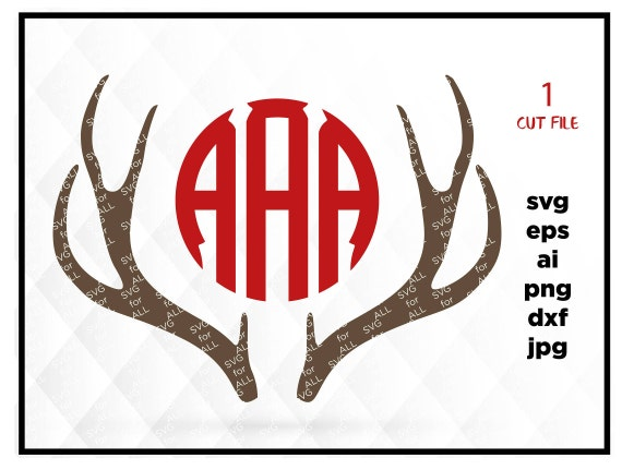 Deer Antler monogram Antlers SVG Antler monogram frame Deer   Etsy