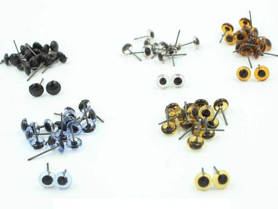 100pcs 3-14mm Glass Eyes On Wire Toy Teddy Eyes Puppets Doll  44a6b89631df