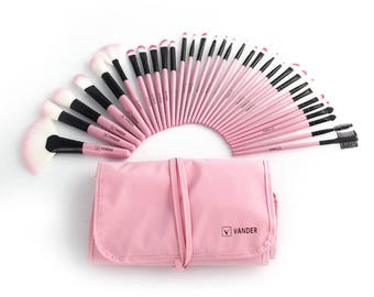 32pcs Fashion Pro Eyebrow Shadow Lip Soft Makeup Brush Set Kit + Pouch Bag Gift (5 colors to choose)