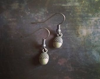Antiqued Bronze Tiny Acorn Charm Earrings // Woodlands Collection // Stocking Stuffer // Gifts under 10