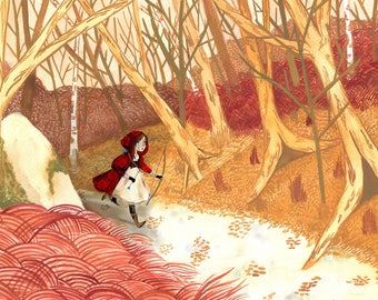 Little Red Riding Hood, The Huntress, A5 Prints