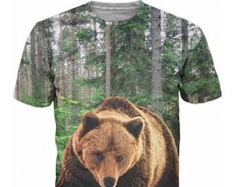 96c635772b 3D Bear T-shirt Hulk Grizzly Hunter Mount Forest Men T-shirt