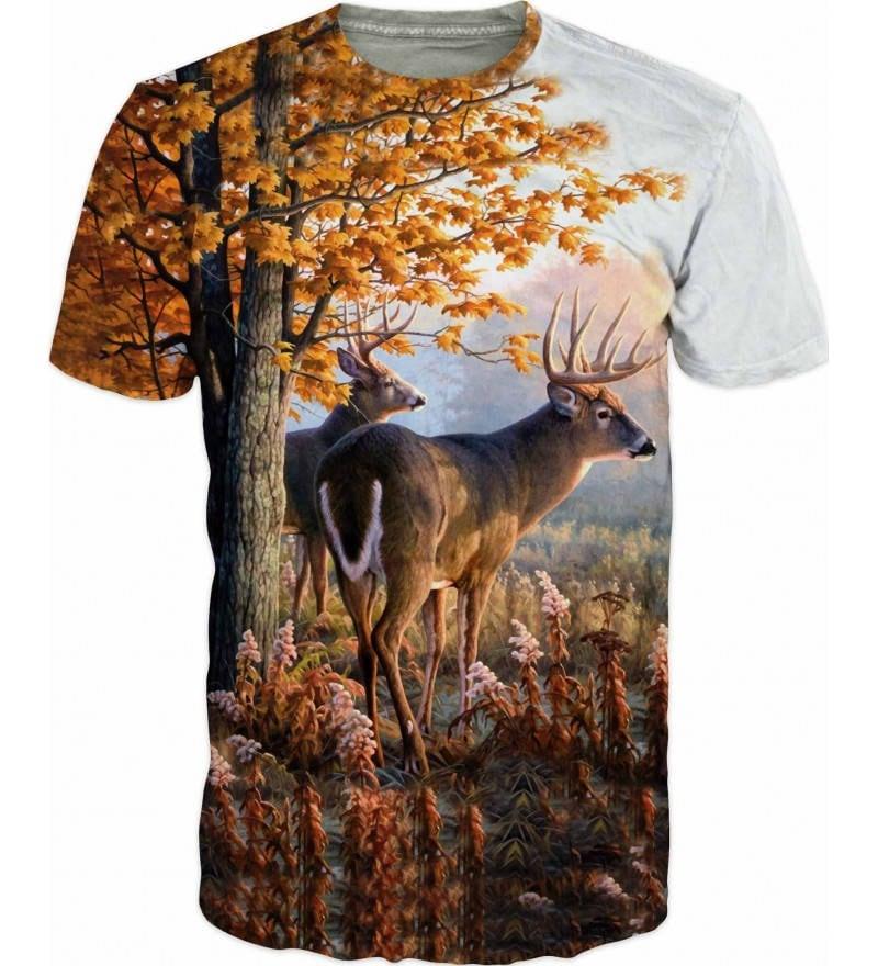 7ec3c4962 Cool 3D Hunting T-shirt Sublimation Printed Deer Hart Red Deer Hind Doe  Real Three Camouflage Hunting Fishing Mens T-shirt