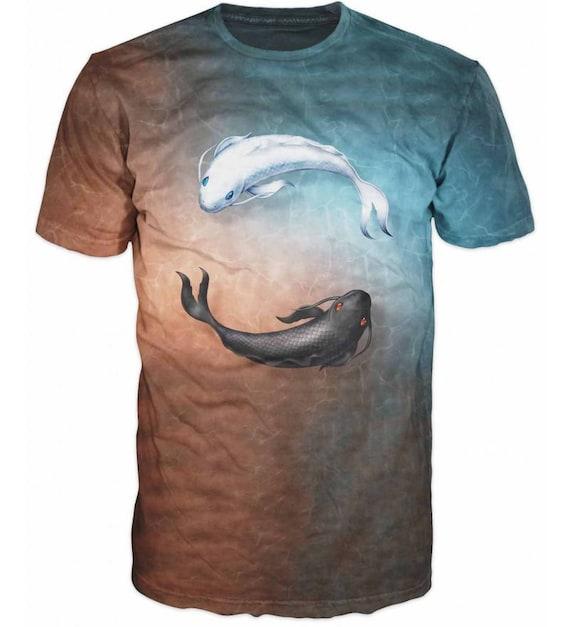 Cool Japanese Koi Fish Yin Yang Carp Fish 3D Fishing Sublimation Men T-Shirt Q35eajkGKu