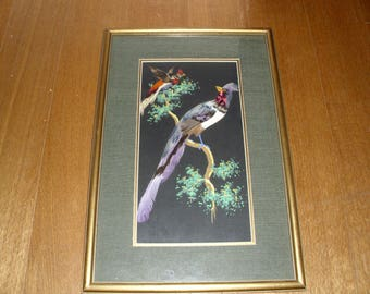 Vintage Mexican Art Feathercraft/Watercolor Two Birds Picture Beveled Framed  Under Glass