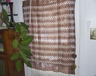 "Six (Three pairs) Chocolate Crocheted Embroidered Curtains Polyester 60"" x 36"" Brand New"
