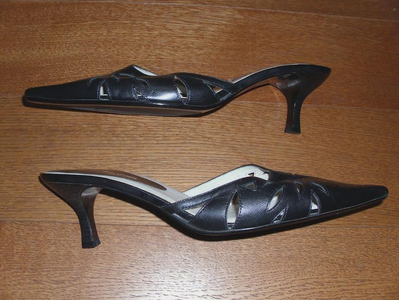 f3b939cc7e223 Bandolino Genuine Leather Black Women's Shoes Mules Size 8 1/2 M