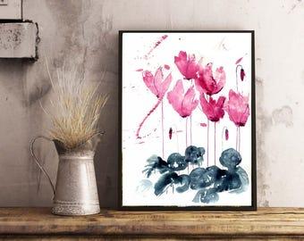 Flowers  Watercolor Art Big canvas Print  Flowers wall art  Floral Watercolor