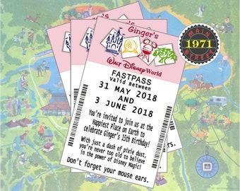 Disney World Fastpass Custom Birthday Party Invitation Digital Download