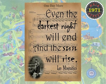 """Les Miserables Quote """"Even the Darkest Night Will End and the Sun Will Rise"""" - Broadway Musical Original Art INSTANT DOWNLOAD"""