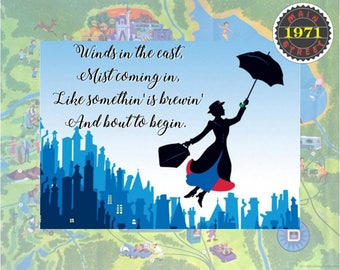 """Mary Poppins Quote Custom Art """"Winds in the east, mist coming in, Like somethin' is brewin' and bout to begin."""" INSTANT DOWNLOAD"""