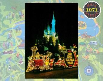 Walt Disney World Magic Kingdom Main Street Electrical Parade DiGITALLY RESTORED Vintage Postcard INSTANT DOWNLOAD