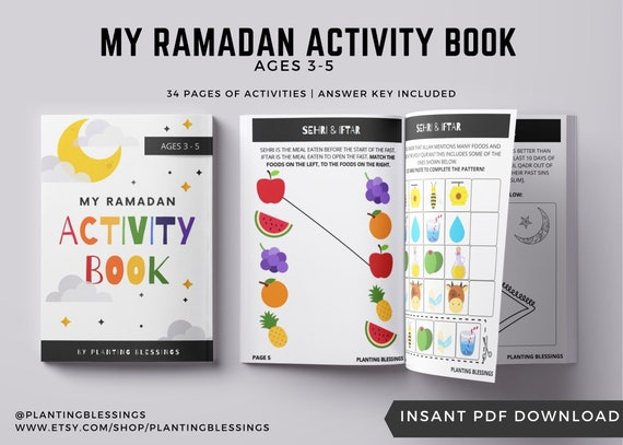 RAMADAN ACTIVITY BOOK  Ages 3-5  34 Pages of Activities