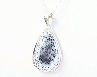 Dendrite Opal Gemstone Necklace 925 Sterling Silver Women Artisan Necklace Jewelry Silver Necklace With Pendant Handmade Silver Necklace