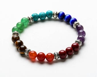 7 CHAKRA BEADED BRACELET -  8mm Healing Gemstones- Yoga Jewelry- Gift Women