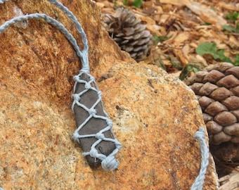 Bohemian Hippie Hemp Wrapped Macrame Stone Necklace