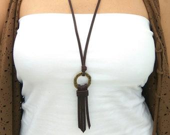 Minimalist Necklace, Fringe Necklace, Long Necklace, Boho jewelry, Boho Leather Necklace, Hippie Leather Necklace, Bohemian Necklace