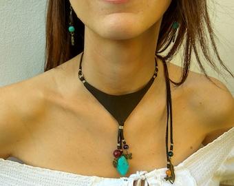 bib necklace stone necklace leather bib necklace Boho jewelry bohemian jewelry bohemian necklace Boho bib necklace natural stones bib
