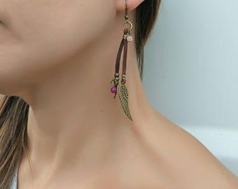 Hippie earrings, hippie jewelry, dangle leather earrings, gemstone earrings, earrings for women, Bohemian earrings, boho earrings, hippie