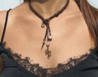 Boho jewelry, Bohemian jewelry, floral choker, leather choker, natural stone choker, necklace for woman, hippie jewelry, gemstone choker