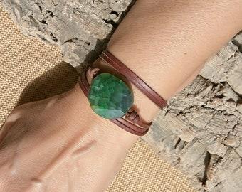 Green gemstone bracelet, wrap leather bracelet, gemstone jewelry, boho bracelet, Boho jewelry, bohemian jewelry, hippie jewelry, boho chic